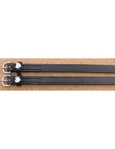 Doebert Spur Straps, Black Leather with Swarovski Hearts
