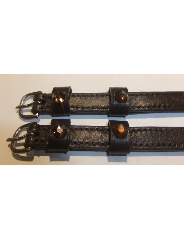 Doebert Spur Straps, Brown Leather with brown Swarovski Crystals